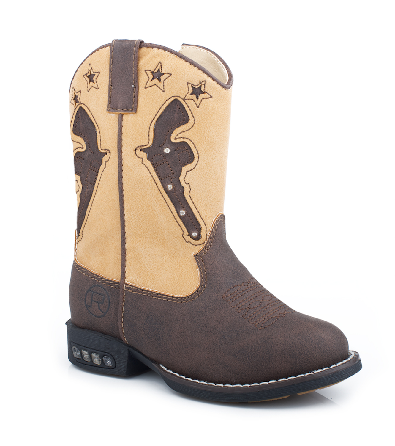 nib roper infant boys cowboy boots brown faux leather