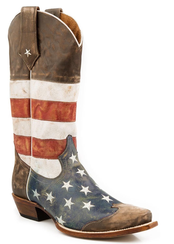 Nib Roper Mens Cowboy Boots American Flag Distressed