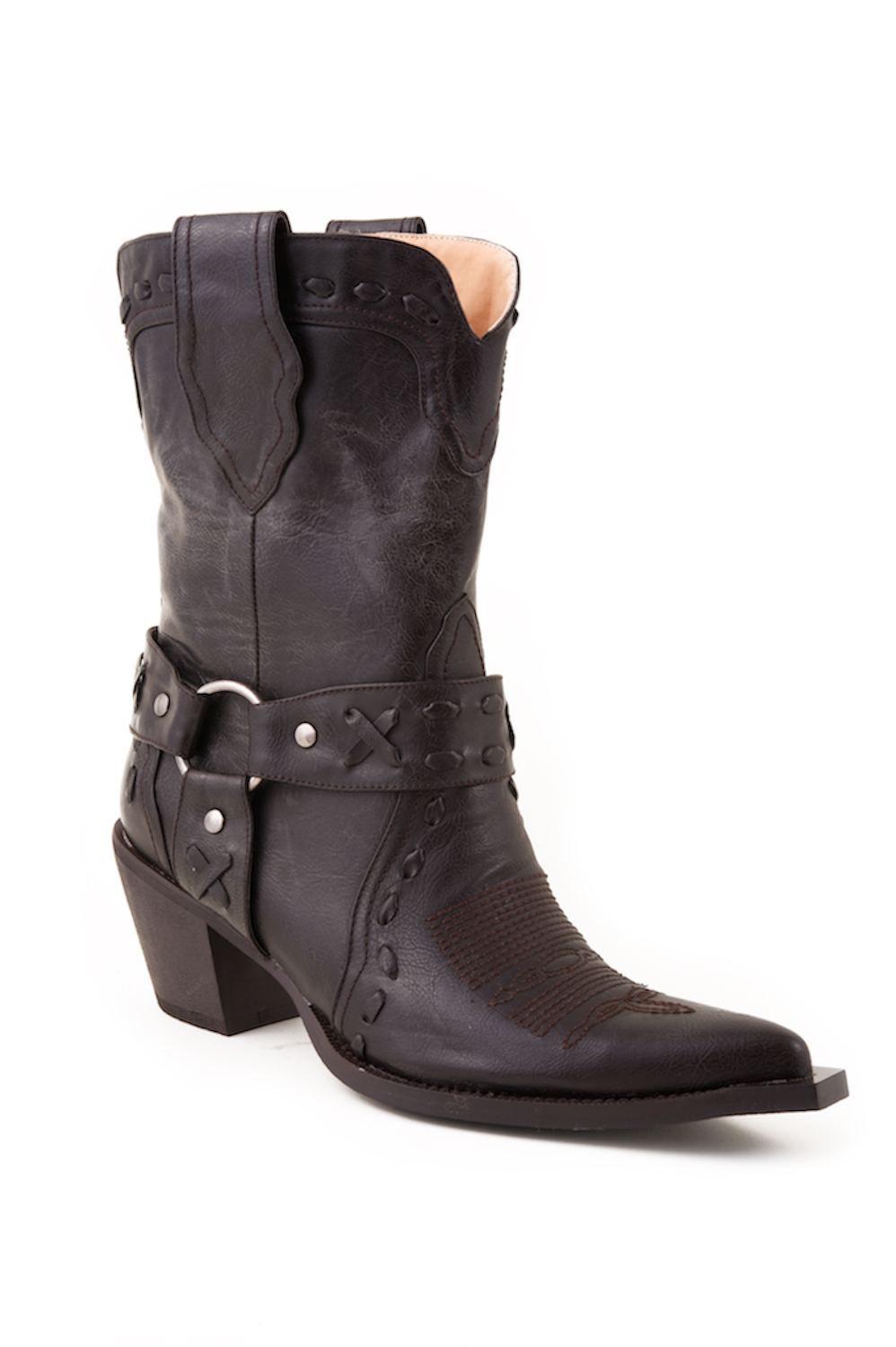 nib roper womens brown leather snip toe harness western