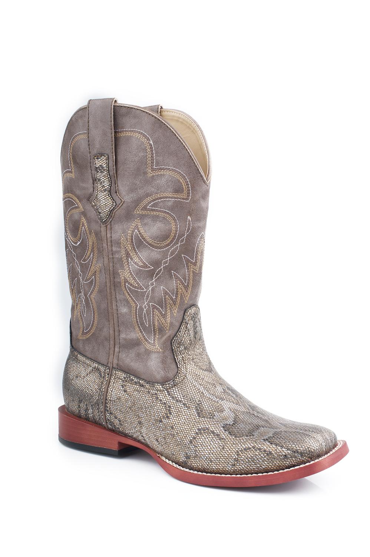 nib roper womens boots 10 quot metallic snake bling western