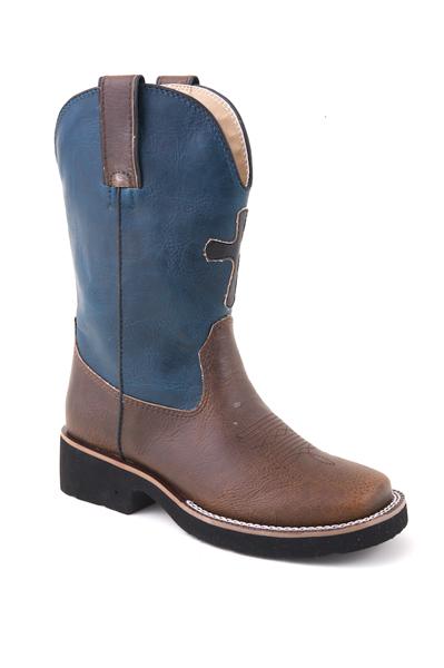 nib roper youth boys cowboy boots faux leather blue brown