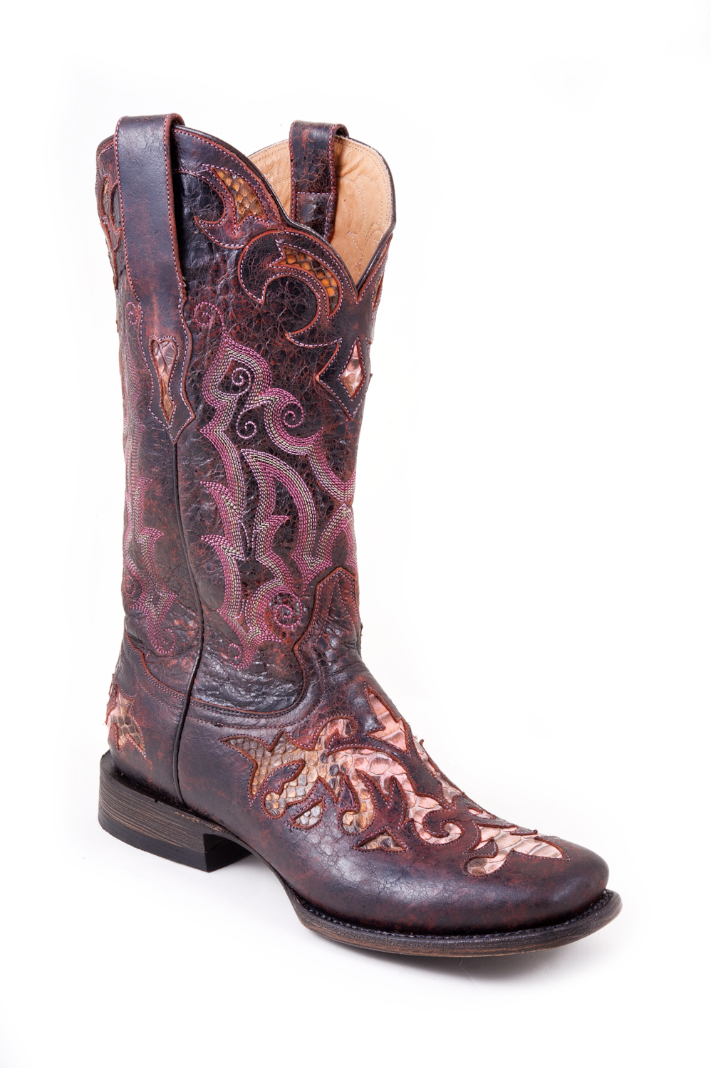 nib stetson cowboy boots distressed pink leather